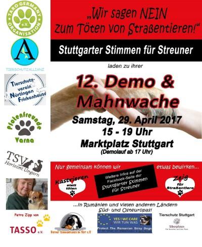 29. April Demo und Mahnwache für Straßentiere